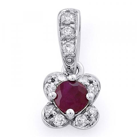 Echt robijn diamanten hanger in 14 caraat witgoud 0,11 ct 0,23 ct