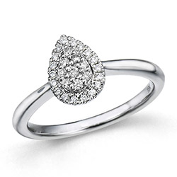 Diamant ring in 14 karaat witgoud 0,18 ct