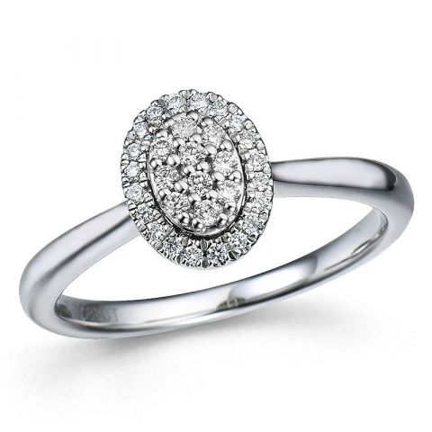 ovale briljant ring in 14 karaat witgoud 0,18 ct
