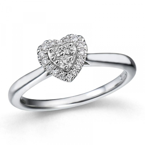 hart diamant ring in 14 karaat witgoud 0,14 ct