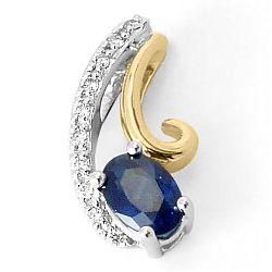 Mooi abstract saffier diamanten hanger in 14 caraat goud-en witgoud 0,05 ct 0,65 ct