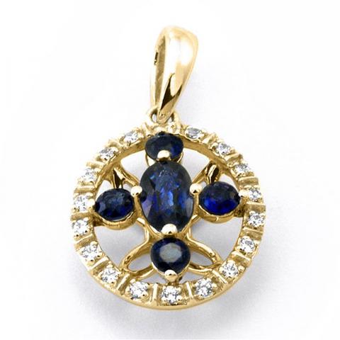 Mooi rond saffier diamanten hanger in 14 caraat goud 0,09 ct 0,63 ct