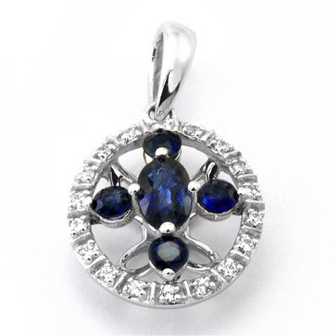 Mooi saffier diamanten hanger in 14 caraat goud-en witgoud 0,09 ct 0,63 ct
