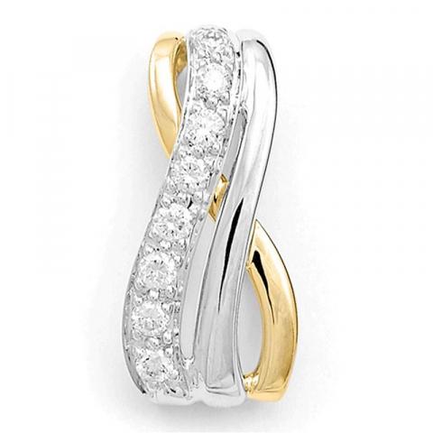 Schattig diamanten hanger in 14 caraat goud-en witgoud 0,12 ct
