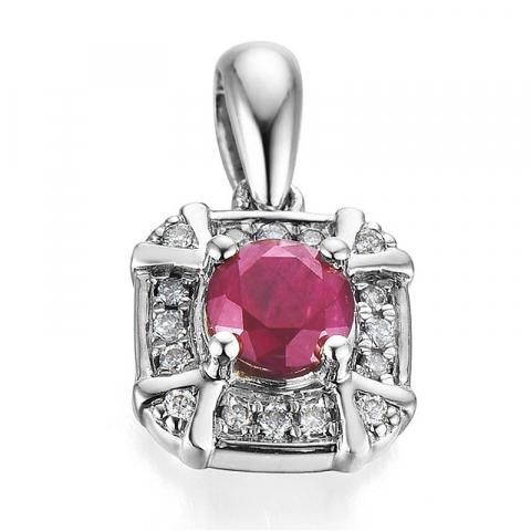 Mooi diamanten hanger in 14 caraat witgoud 0,07 ct 0,45 ct