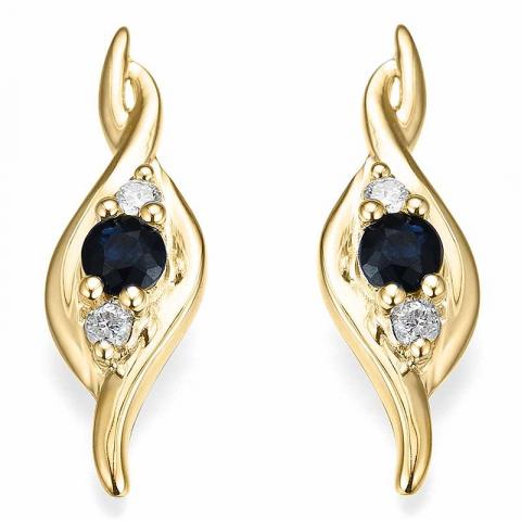 mooie saffier diamant oorbellen in 14 karaat goud met diamant en saffier