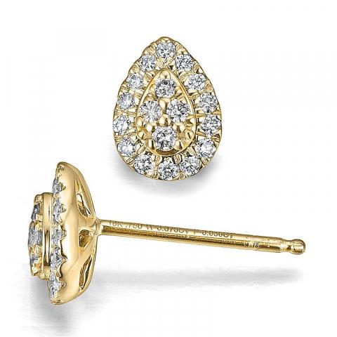 Druppel diamant oorbellen in 14 karaat goud met diamanten