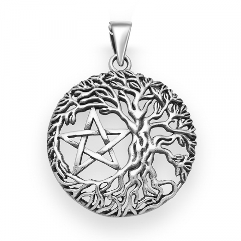 rond boom van het leven hanger in zilver
