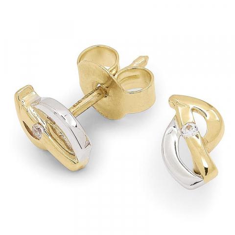 Klein zirkoon gouden oorstekers in 9 karaat goud met rodium met zirkonen