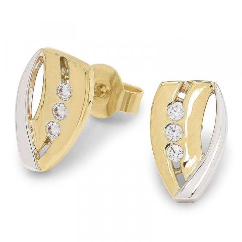Schattige zirkoon gouden oorbellen in 9 karaat goud met rodium met zirkonen