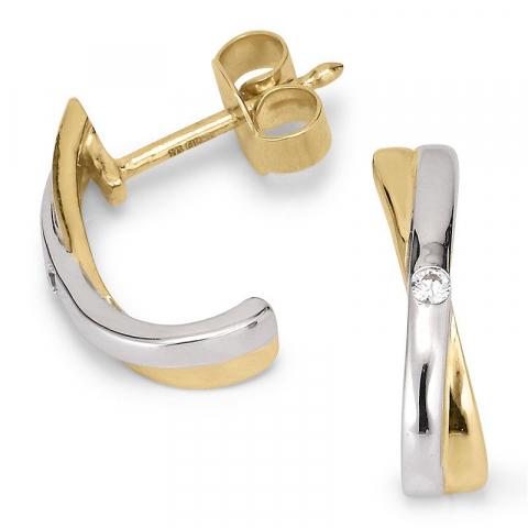 Mooie oorsteker in 9 karaat goud en witgoud met zirkoon