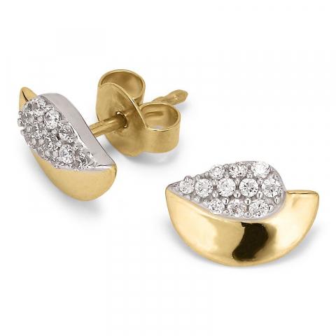 Eenvoudige oorsteker in 9 karaat goud en witgoud met zirkoon