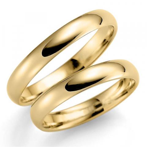 Gladde  3,5 mm trouwringen in 14 karaat goud - set