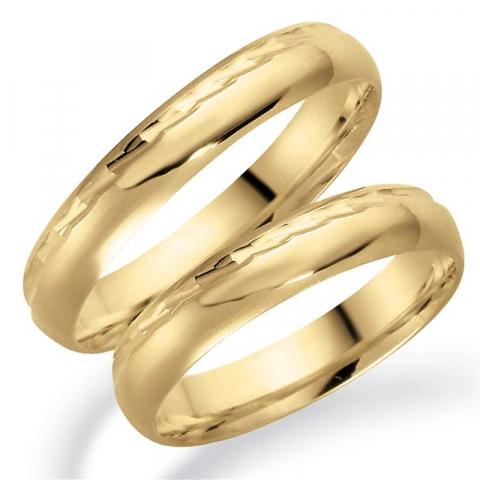 Patroon 4 mm trouwringen in 14 karaat goud - set