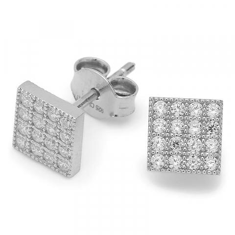 Vierkant zirkoon oorsteker in zilver