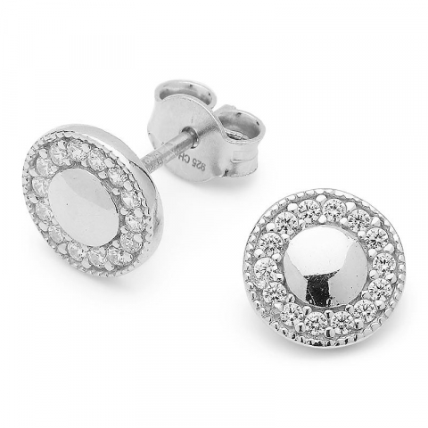 Glanzende  rond oorsteker in zilver