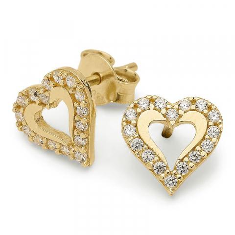 Schattige hart zirkoon oorsteker in verguld zilver