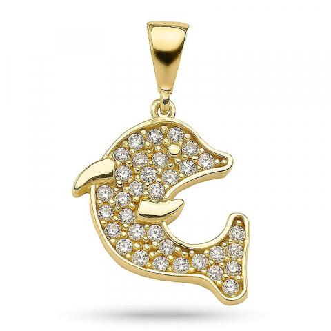 Mooi dolfijn zirkoon hanger in verguld sterlingzilver