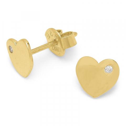 testsieraad hart oorsteker in verguld sterlingzilver