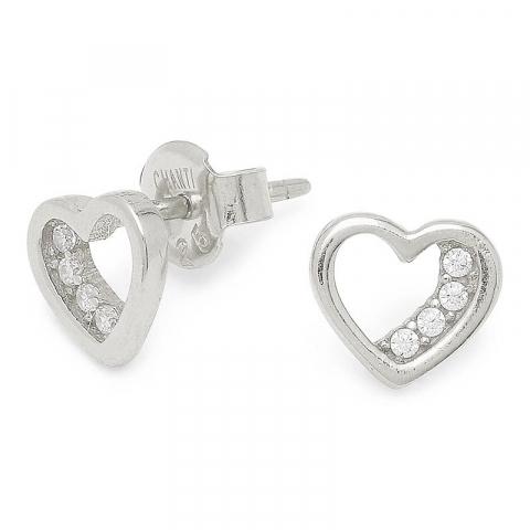 Goedkoop hart zirkoon oorsteker in zilver