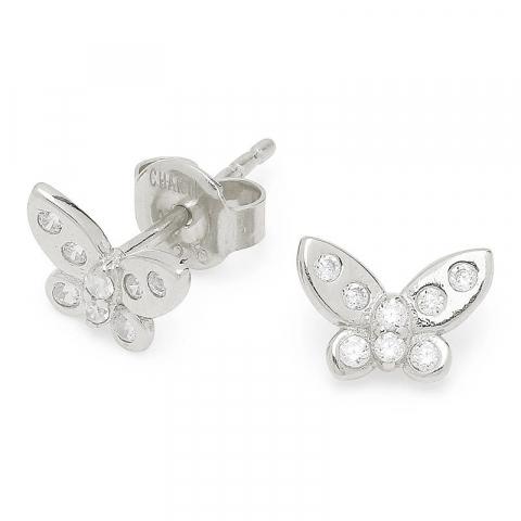 Schattige vlinder zirkoon zilver oorbellen in zilver