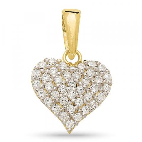Mooi hart zirkoon hanger in verguld zilver met rhodinatie