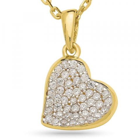 Eenvoudig hart zirkoon hanger met ketting in verguld zilver met rhodinatie
