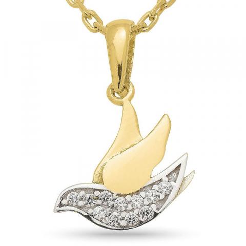 Vogel zirkoon hanger met ketting in verguld zilver met rhodinatie