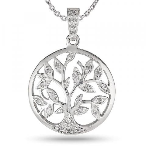 20 mm boom van het leven ketting in zilver met hanger in zilver