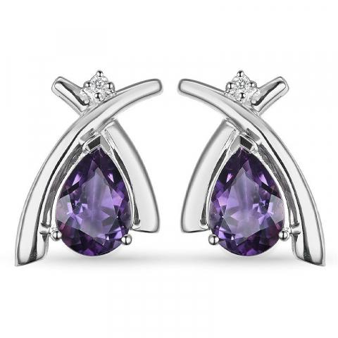 Amethist diamant oorbellen in 9 karaat witgoud met diamanten en amethisten