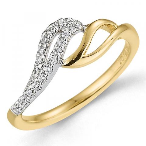 Elegant diamant ring in 9 karaat goud-en witgoud 0,13 ct
