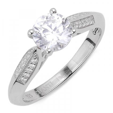 Groot witte zirkoon ring in zilver