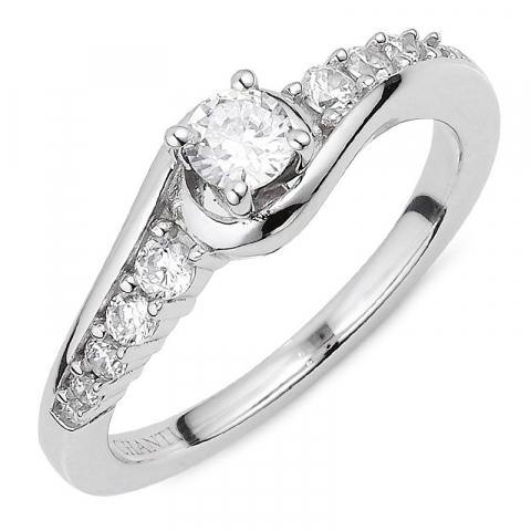 Abstract witte zirkoon ring in zilver