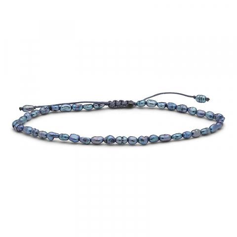 Mooi donkerblauw metallic zoetwaterparelketting met zoetwaterparel.