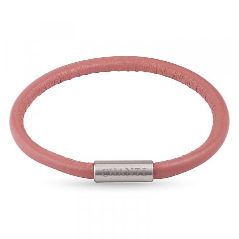 Rond roze magnetische armband in leer met staal slot  x 4 mm