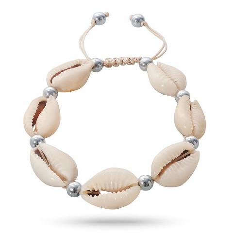 Eenvoudige shell mossel armband in zijden koord 17 cm plus 4 cm x 12 mm