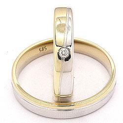 Tweekleurige ovaal diamant trouwringen in 14 karaat goud-en witgoud 0,025 ct - set