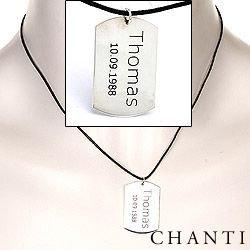 Dogtag Naamkettingen met hanger in katoenen en zilver