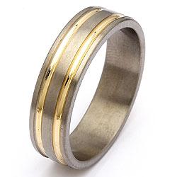 Trouwring in titanium en goud