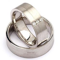 Trouwringen in zilver 0,09 ct