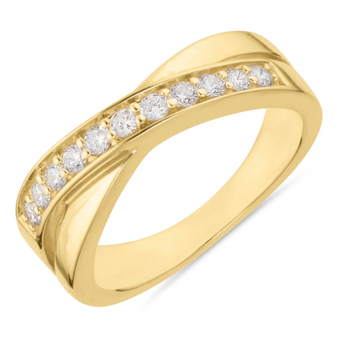 witte zirkoon verguld ring in verguld sterlingzilver