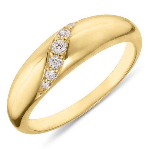 mooie zirkoon verguld zilver ring in verguld sterlingzilver