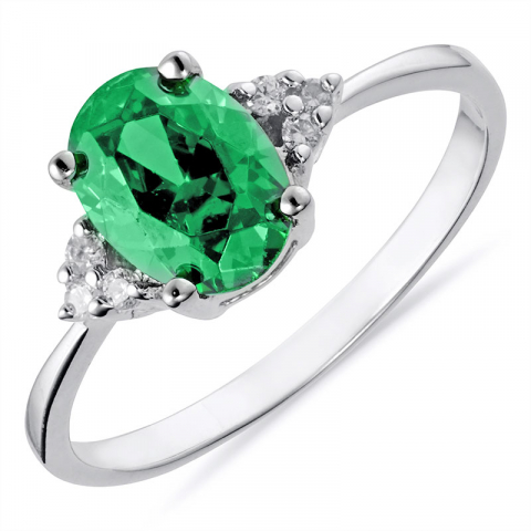 Ovale groen zirkoon ring in zilver
