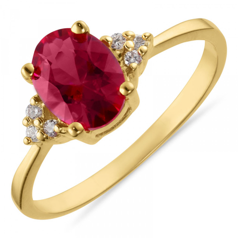 Ovale rode ring in verguld sterlingzilver