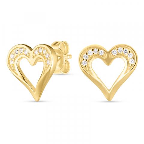 Sieraden: hart oorbellen in verguld zilver