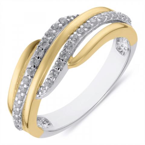 Mooie abstract ring in gerodineerd zilver met verguld sterlingzilver
