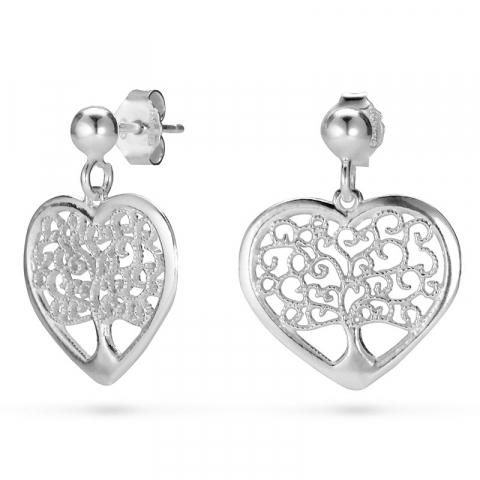 hart boom van het leven oorbellen in zilver