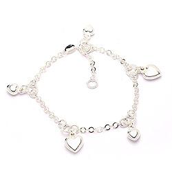 Hart armband in zilver met hanger in zilver