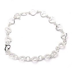Mooi hart armband in zilver met hanger in zilver