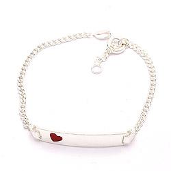 Hart kinder armband in zilver met hanger in zilver